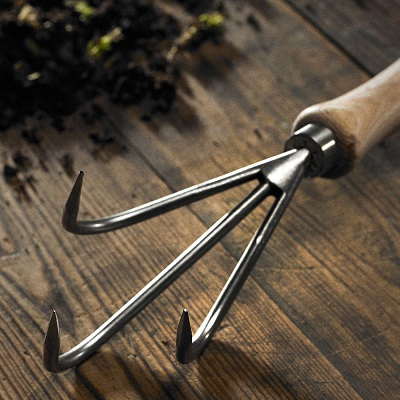 Hand cultivator close-up.