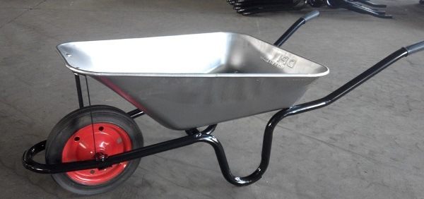 Stainless steel wheelbarrow.