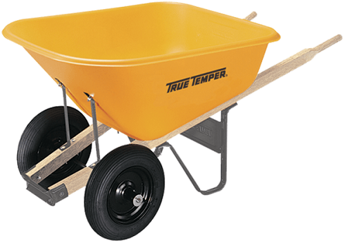 True Temper 8 Cubic Foot Dual Wheel Poly Wheelbarrow - RP810