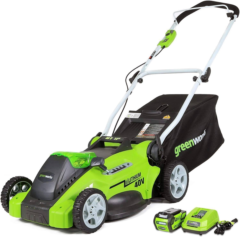 greenworks cordless lawn mower image